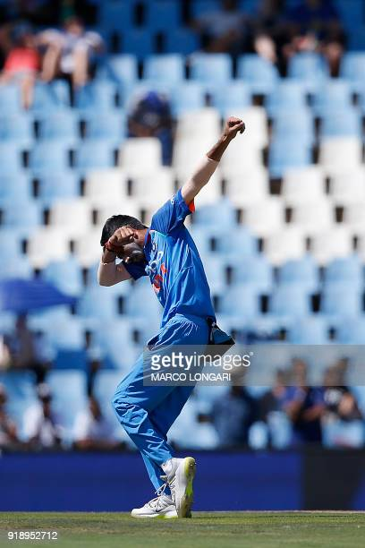 India bowler Yuzvendra Chahal celebrates dismissing South Africa batsman AB de Villiers during the sixth One Day International cricket match between...