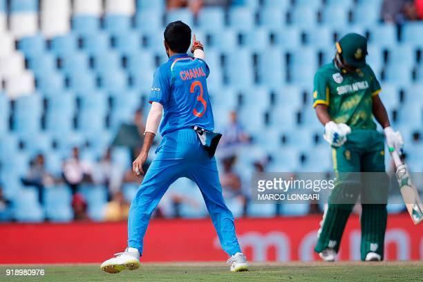 India bowler Yuzvendra Chahal celebrates dismissing South Africa batsman Khaya Zondo during the sixth One Day International cricket match between...