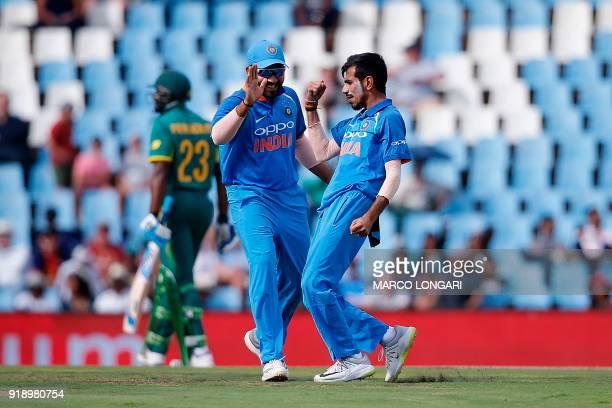 India bowler Yuzvendra Chahal celebrates for dismissing South Africa batsman Khaya Zondo during the sixth One Day International cricket match between...