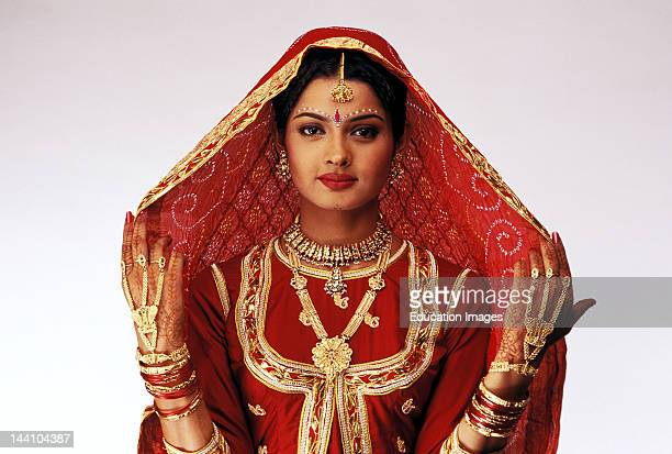 India Bride In Traditional Dress Of Rajasthan