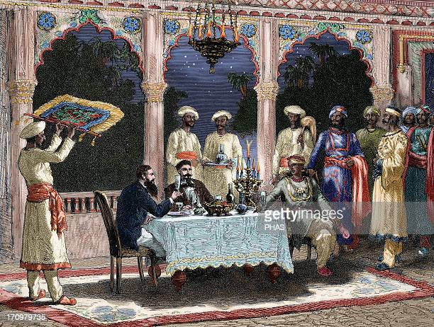 India British colonial era Banquet at the palace of Rais in Mynere Engraving by Hildibrand Colored The Illustrated World 1882