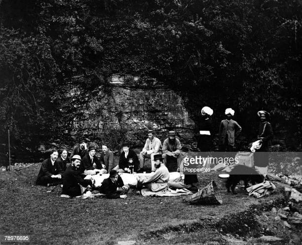 1865 India British Empire Group enjoying a sunday picnic at Simla