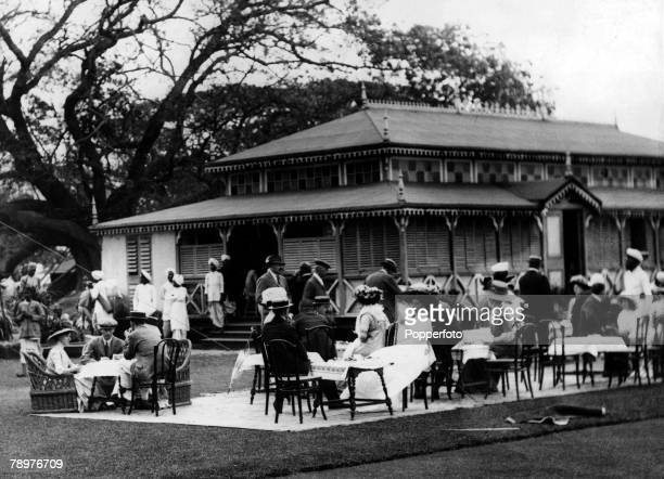 1910 India British Empire Scene at Calcutta Golf Club showing the club house