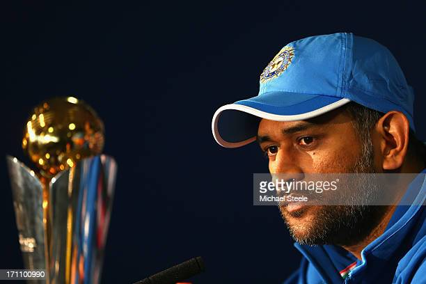 India captain MS Dhoni addresses the media during the India press conference at Edgbaston on June 22 2013 in Birmingham England