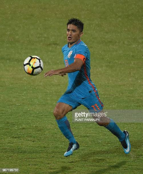 India captain Sunil Chhetri vies for the ball during the Hero Intercontinental Cup football match between India and Kenya in Mumbai on June 4 2018...
