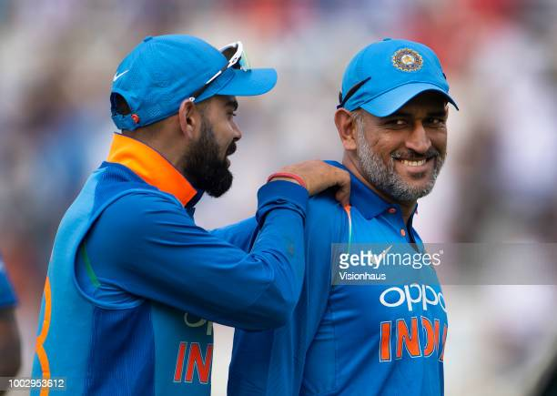 India captain Virat Kohli and MS Dhoni during the 1st Royal London ODI match between England and India at Trent Bridge on July 12 2018 in Nottingham...