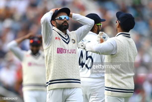 India captain Virat Kohli and his slips react after a near miss during day one of the Third Test Match between England and India at Emerald...