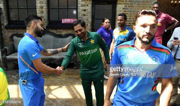 India captain Virat Kohli and Pakistan captain Sarfraz Ahmed during the Captains Media Day prior to the ICC Cricket World Cup 2019 at on May 23 2019...