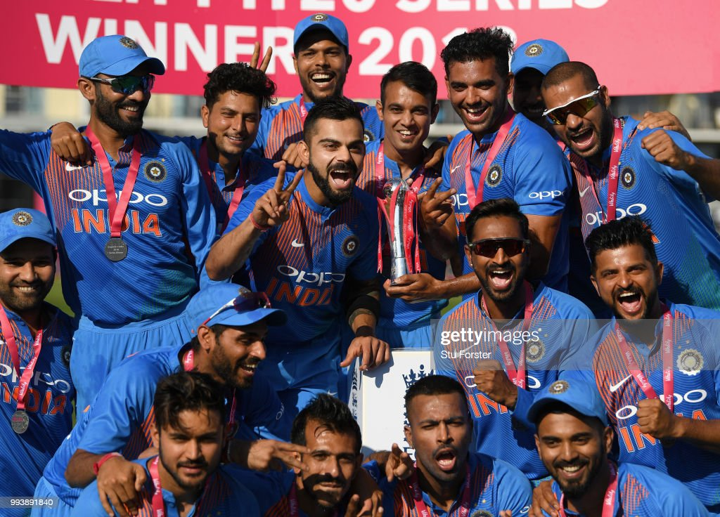 India captain Virat Kohli (centre left) and team mates celebrate after the 3rd Vitality International T20 match between England and India at The Brightside Ground on July 8, 2018 in Bristol, England.
