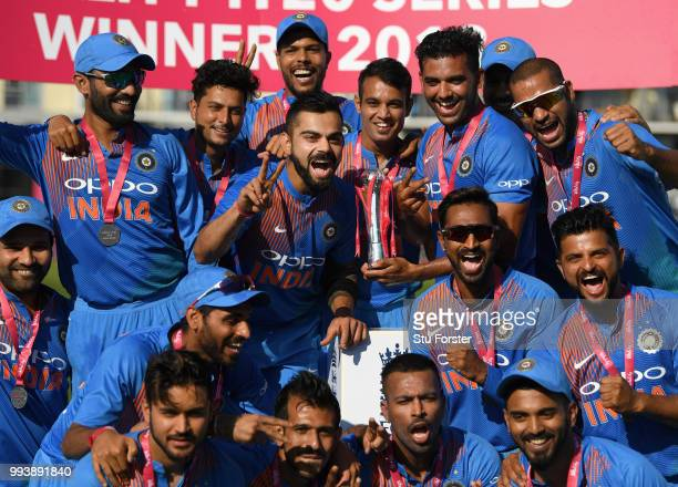 India captain Virat Kohli and team mates celebrate after the 3rd Vitality International T20 match between England and India at The Brightside Ground...