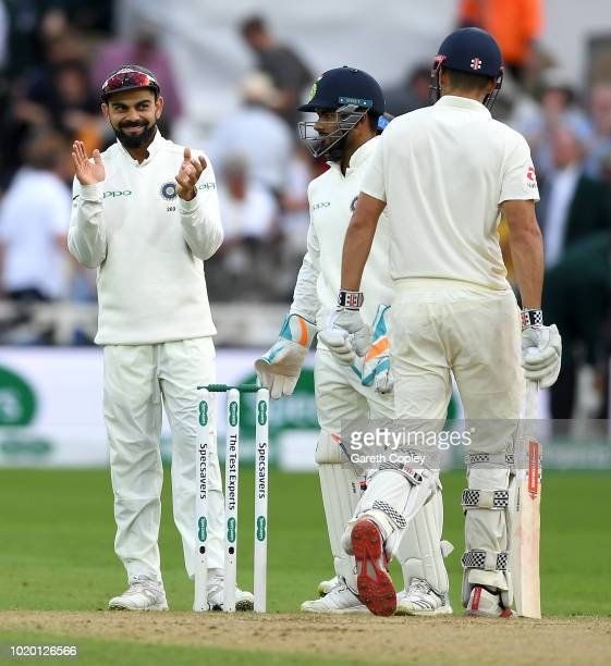 India captain Virat Kohli applauds Alastair Cook of England at stumps on day three of the Specsavers 3rd Test match between England and India at...