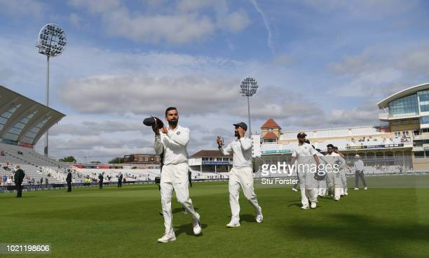 India captain Virat Kohli applauds the fans after day 5 of the 3rd Test Match between England and India at Trent Bridge on August 22 2018 in...