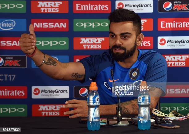 India captain Virat Kohli attends a press conference at Edgbaston cricket ground in Birmingham on June 3 ahead of the ICC Champions Trophy cricket...