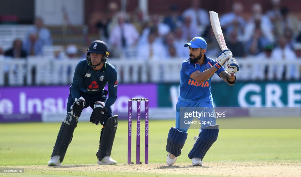 India captain Virat Kohli bats during the 2nd ODI Royal London One-Day match between England and India at Lord's Cricket Ground on July 14, 2018 in London, England.