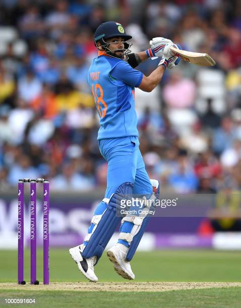 India captain Virat Kohli bats during the 3rd Royal London OneDay International match between England and India at Headingley on July 17 2018 in...
