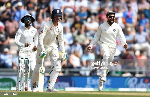 India captain Virat Kohli celebrates after Keaton Jennings of England is dismissed by Mohammed Shami of India during day three of the Specsavers 4th...