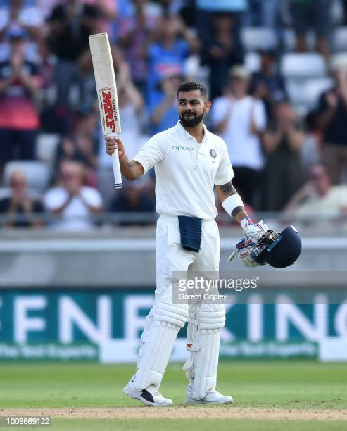 India captain Virat Kohli celebrates reaching his century during day two of the Specsavers 1st Test between England and India at Edgbaston on August...