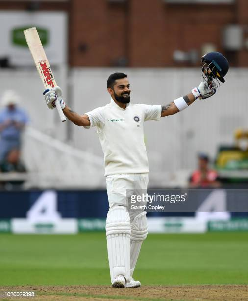 India captain Virat Kohli celebrates reaching his century during day three of the Specsavers 3rd Test match between England and India at Trent Bridge...