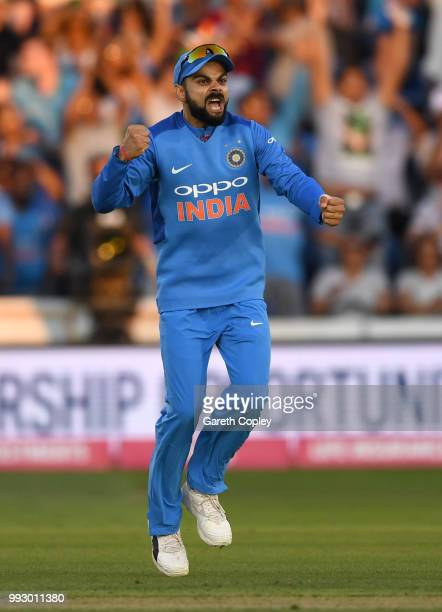 India captain Virat Kohli celebrates the wicket of Jonathan Bairstow of England during the 2nd Vitality International T20 match between England and...