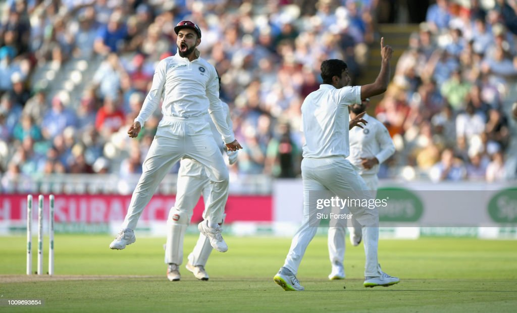 India captain Virat Kohli celebrates with bowler Ravi Ashwin after Ashwin had bowled Alastair Cook during day two of the First Specsavers Test Match between England and India at Edgbaston on August 2, 2018 in Birmingham, England.