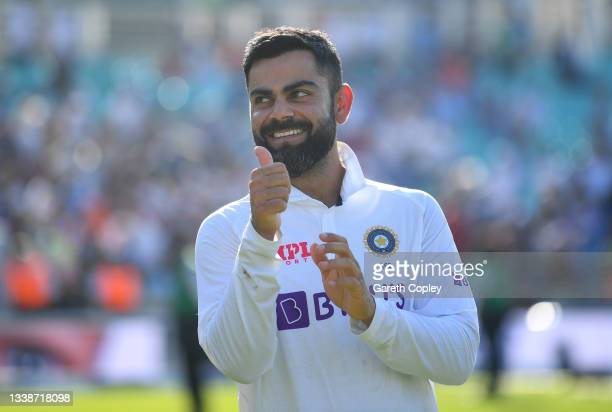 India captain Virat Kohli during the post match presentations after winning the Fourth LV= Insurance Test Match between England and India at The Kia...