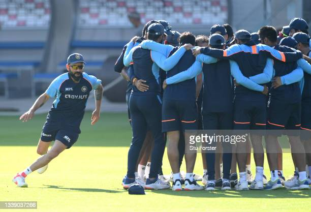 India captain Virat Kohli in action during a warm up game during India nets ahead of the 5th Test match against England at Old Trafford on September...