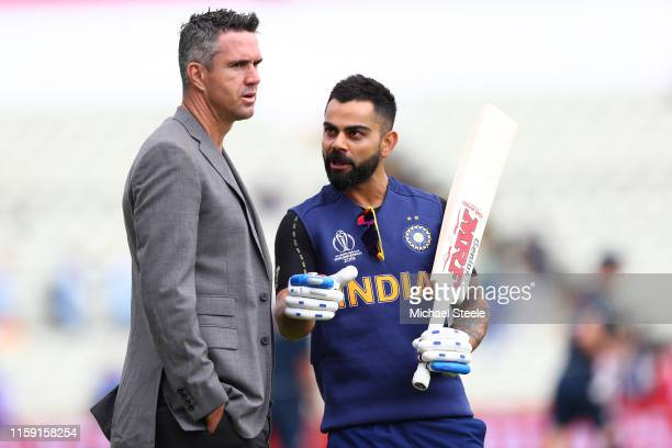 India captain Virat Kohli in conversation with ex England cricketer Kevin Pietersen ahead of the Group Stage match of the ICC Cricket World Cup 2019...