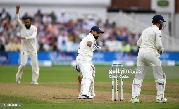 India captain Virat Kohli is dismissed by Adil Rashid of England during the Specsavers 3rd Test match between England and India at Trent Bridge on...
