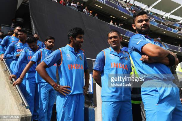 India captain Virat Kohli lines up with his team ahead of the national anthems during the ICC Champions Trophy match between India and Pakistan at...