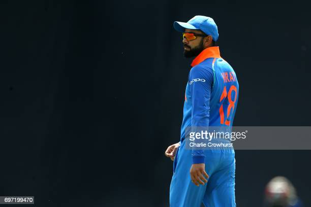 India captain Virat Kohli looks on during the ICC Champions Trophy Final match between India and Pakistan at The Kia Oval on June 18 2017 in London...