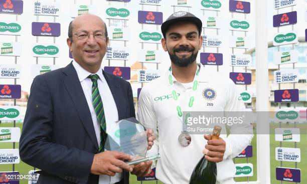 India captain Virat Kohli receives his man of the match award from Richard Tennant chairman of Nottinghamshire CCC after day 5 of the 3rd Test Match...