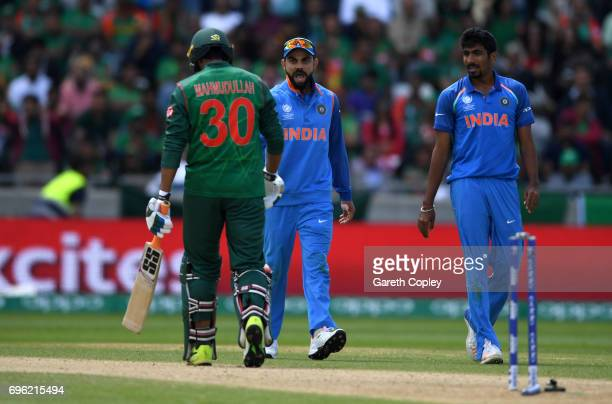 India captain Virat Kohli sends off Mahmudullah of Bangladesh after is bowled by Jasprit Bumrah during the ICC Champions Trophy Semi Final between...