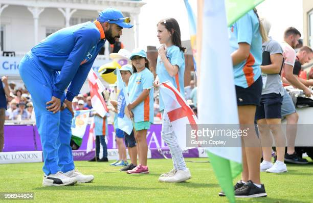 India captain Virat Kohli speaks one of the allstars cricketers ahead of the Royal London OneDay match between England and India at Trent Bridge on...
