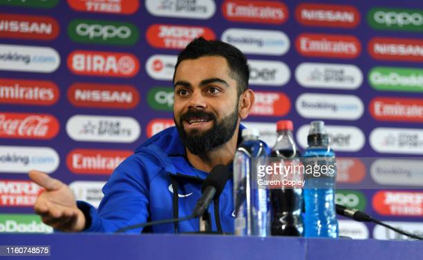 India captain Virat Kohli speaks to the media during a press conference at Old Trafford on July 08, 2019 in Manchester, England.