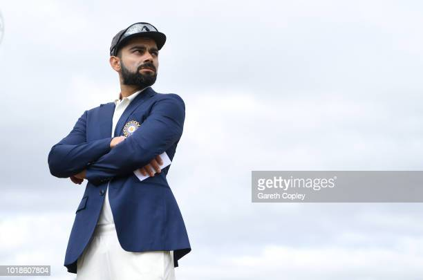 India captain Virat Kohli waits for the toss ahead of the Specsavers 3rd Test match between England and India at Trent Bridge on August 18 2018 in...