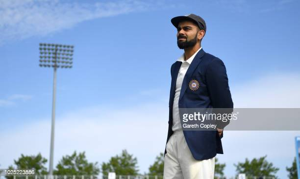 India captain Virat Kohli waits for the toss ahead of the Specsavers 4th Test match between England and India at The Ageas Bowl on August 30, 2018 in...