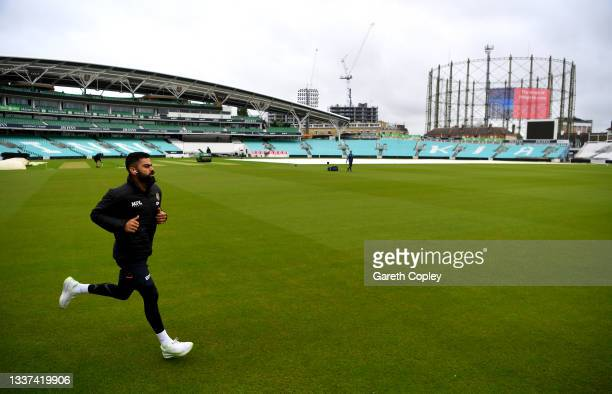 India captain Virat Kohli walks up ahead of a nets session at The Kia Oval on August 31, 2021 in London, England.