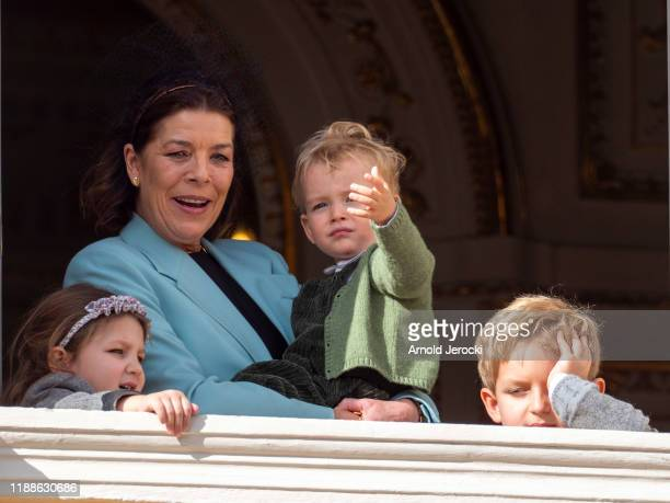 India Casiraghi and Princess Caroline of Hanover stand at the Palace balcony during the Monaco National Day Celebrations on November 19 2019 in...