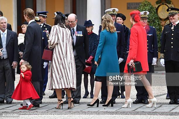 India Casiraghi Andrea Casiraghi Tatiana Santo Domingo Princess Alexandra of Hanover and Charlotte Casiraghi attend the Monaco National Day...