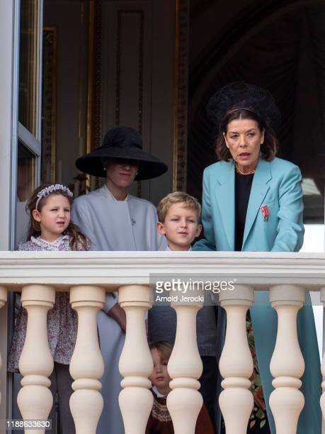 India Casiraghi Tatiana Casiraghi Stefano Casiraghi and Princess Caroline of Hanover seen on the Palace balcony during the Monaco National Day...