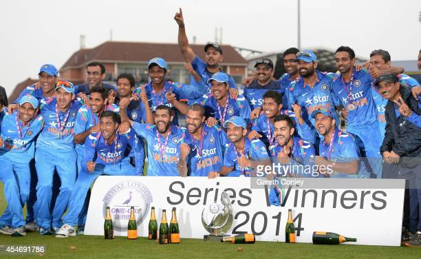 India celebrate after winning the Royal London One Day International series between England and India at Headingley on September 5 2014 in Leeds...