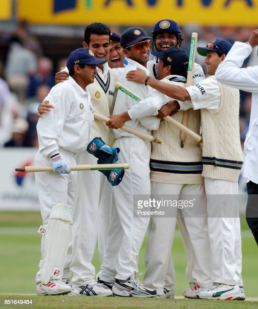 India celebrate after winning the Third npower Test match between England and India on August 26 2002 at Headingley in Leeds