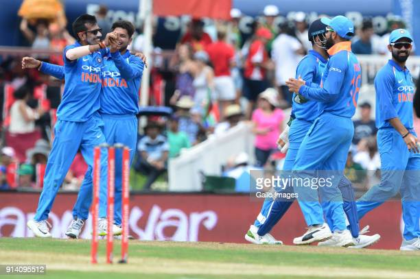 India celebrate the wicket of Aiden Markram of the Proteas during the 2nd Momentum ODI match between South Africa and India at SuperSport Park on...