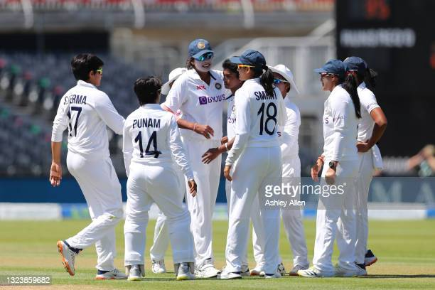 India celebrate the wicket of England's Lauren Winfield-Hill on Day One of the LV= Insurance Test Match between England Women and India Women at...