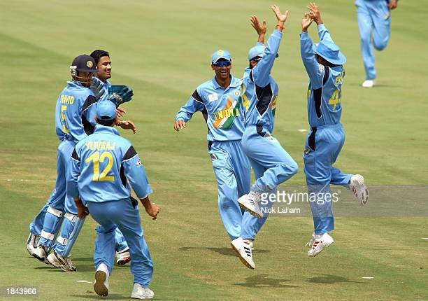 India celebrate the wicket of InzamamulHaq of Pakistan during the ICC Cricket World Cup 2003 Pool A match between India and Pakistan held on March 1...