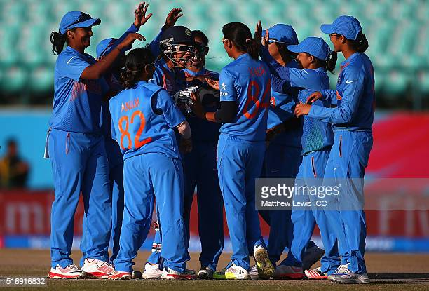 India celebrate the wicket of Sarah Taylor of England during the Women's ICC World Twenty20 India 2016 match between England and India at the HPCA...