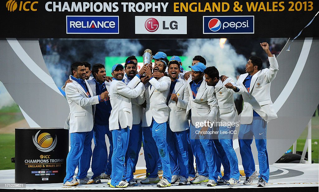 India celebrate their victory with the Champions Trophy after the ICC Champions Trophy Final match between England and India at Edgbaston on June 23, 2013 in Birmingham, England.