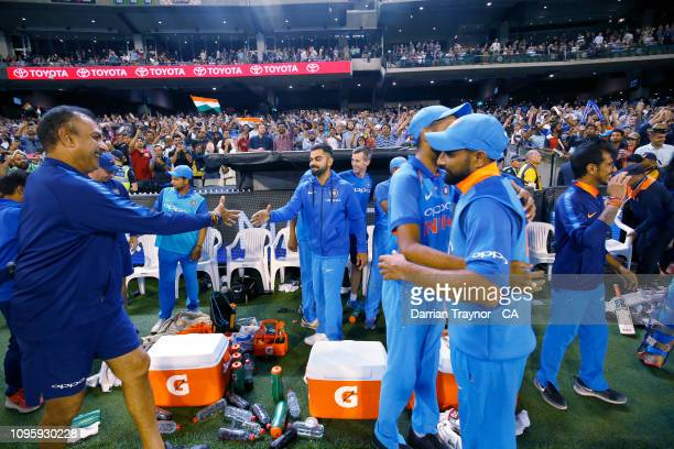 India celebrate winning game three and the One Day International series between Australia and India at Melbourne Cricket Ground on January 18, 2019...