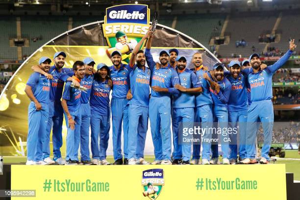India celebrate winning game three and the One Day International series between Australia and India at Melbourne Cricket Ground on January 18 2019 in...