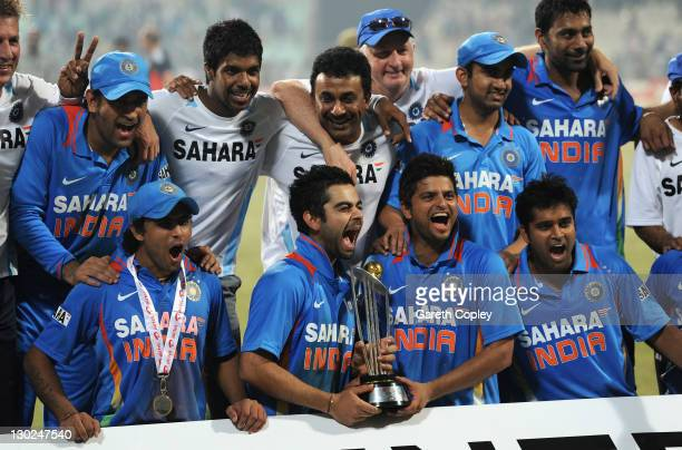 India celebrate winning the ODI series after the 5th One Day International between India and England at Eden Gardens on October 25 2011 in Kolkata...